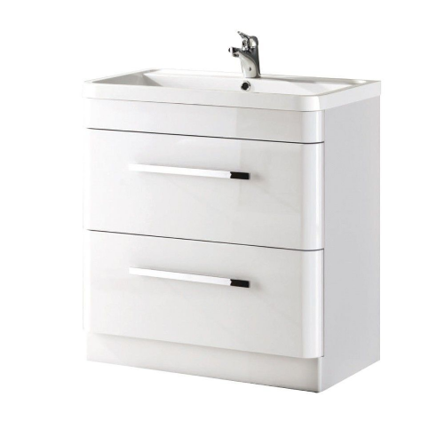 Crystal 800mm White Gloss Floor Standing Vanity Unit & Basin